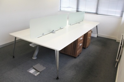 White Verco Bench Desking With Glass Screen