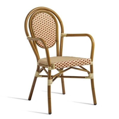 New Red & Cream Aluminium Cane Effect Wicker Weave Canteen Cafe Bistro Dining Chairs