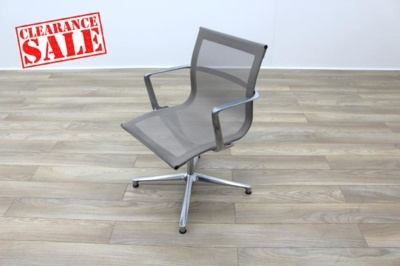 ICF UNA Executive Grey Mesh Chrome Office Meeting Chairs