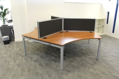 120 Degree Walnut Desks