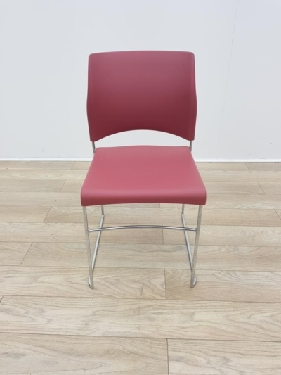 Red Plastic / Chrome Frame Stacking Office Meeting / Canteen Chairs