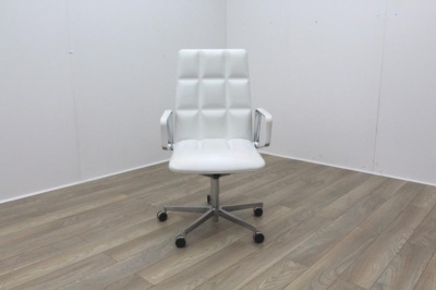 Walter Knoll Lead White Leather Executive Chair