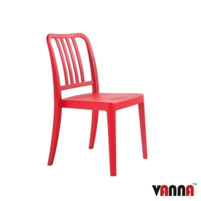 New Red Reinforced Polypropylene Stacking Office Canteen Cafe Bistro Meeting Chairs