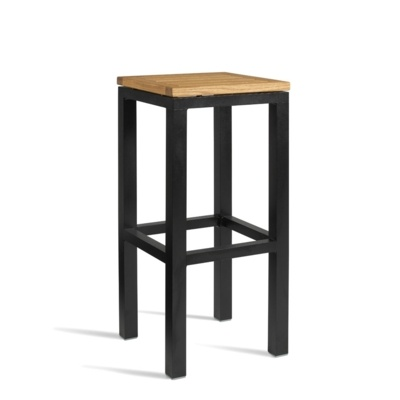 New ICE Powder Coated Metal Frame and Robinia Wood Top Canteen Cafe High Stool