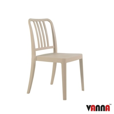 New Beige Reinforced Polypropylene Stacking Office Canteen Cafe Bistro Meeting Chairs