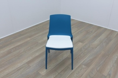 Brunner Blue with White Leather Seat Canteen Chair