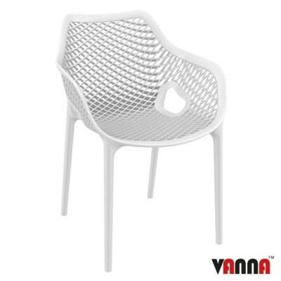 New White Reinforced Polypropylene & Glass Fibre Stacking Office Canteen Cafe Bistro Arm Chairs