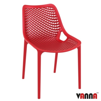 New Red Reinforced Polypropylene & Glass Fibre Stacking Office Canteen Cafe Bistro Chairs