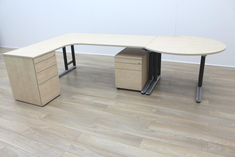 Maple executive office desk w return pedestal ebay - Maple office desk ...