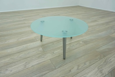 OrangeBox Surf Circular Frosted Glass Office Coffee Table