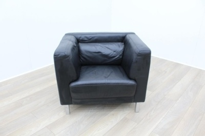 Black Leather Reception Armchair