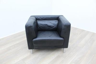 Black Leather Reception Armchair
