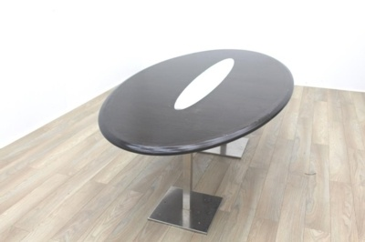Wenge Oval Meeting Table Glass Inlay