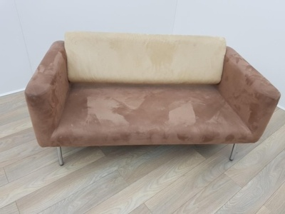 Brown and Cream Velour Two Seater Sofa