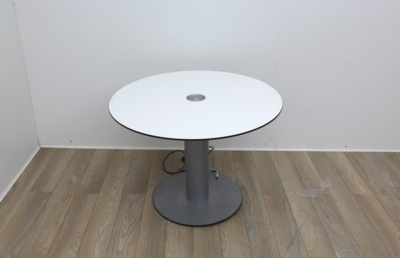 White meeting table with extendable cable port