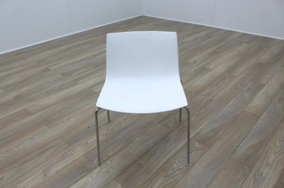 Arper Catifa 46 White / Blue Back Chrome Office Canteen Meeting Chairs