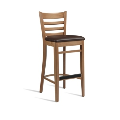 New PLUS Light Oak Solid Beech with Dark Brown Faux Leather Seat Pad Bar Stool