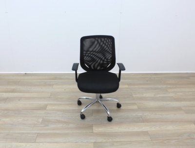 Black Operator Chairs With Mesh Back And Fabric Seat