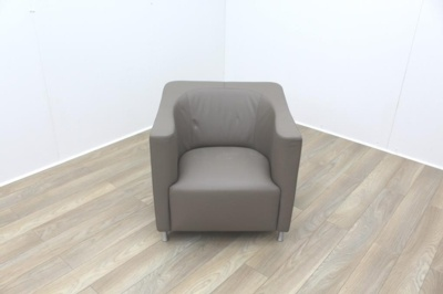 Brunner Beige Leather Reception Chair