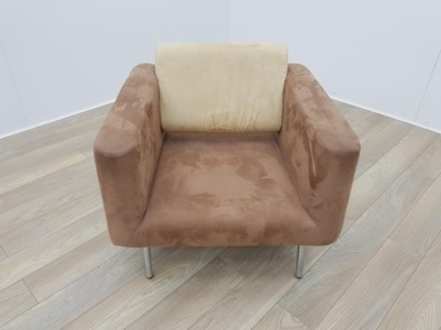Brown and Cream Velour Sofa Chair