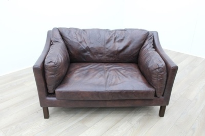 Brown Leather Two Seater Reception Sofa