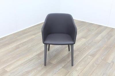 Brunner Light Grey Leather Grey Wooden Frame Reception Tub Chair