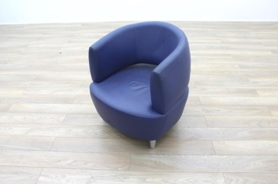 Blue Leather Office Reception Tub Chairs