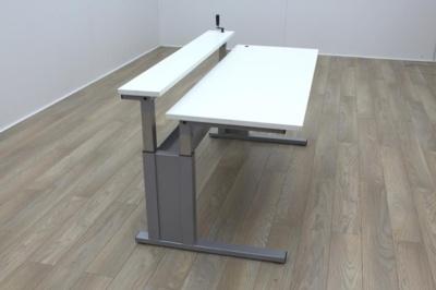 Height Adjustable White 2 Tier Office Desk Workstation