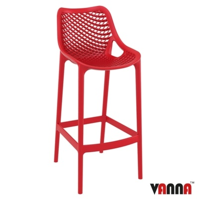 New Red Strong Reinforced Polypropylene, Glass Fibre Canteen Cafe Bar Stool