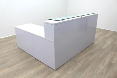 New Cancelled Order Gloss White Office Reception Desk Counter