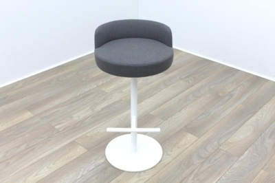 Brunner Grey Fabric White Frame Bar Stool