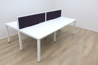 White Bench Desking With White Frame