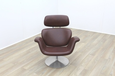 Pierre Paulin Artifort Tulip Lounge Chair in Brown Leather Hide
