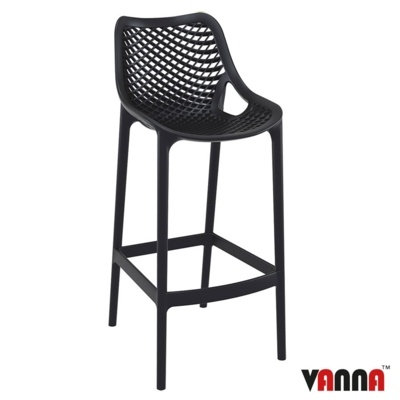 New Black Strong Reinforced Polypropylene, Glass Fibre Canteen Cafe Bar Stool
