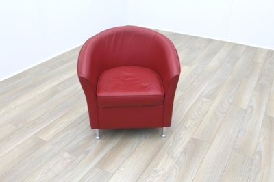 Red Leather Office Reception Tub Chairs