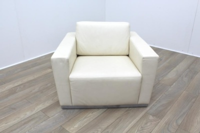 Walter Knoll Cream Leather Reception Armchair