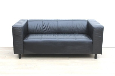 Black reception faux leather sofa