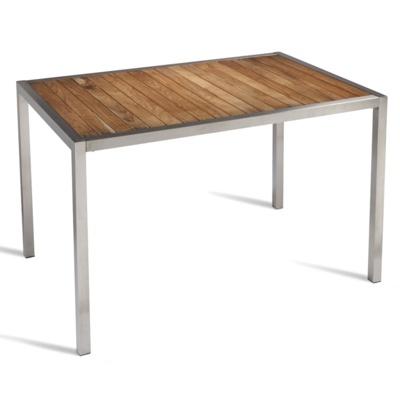 New BUZZ Teak Slatted Stainless SteelFrame Canteen Café Rectangular Table