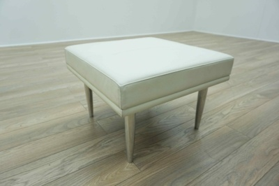 Davison Highley Fifth Avenue White Leather Breakout Bench Seating / Foot Stool