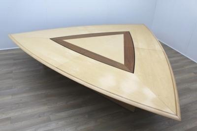 Stunning Rare Sven Christiansen Maple / Walnut Triangular Office Meeting Table