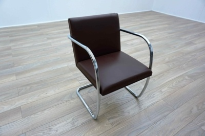 Knoll Studio Brno by Mies Van Der Rohe Brown Leather Executive Office Meeting Chairs