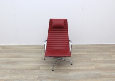 Vitra Eames Easy Chairs In Ribbed Red Leather With Headrest