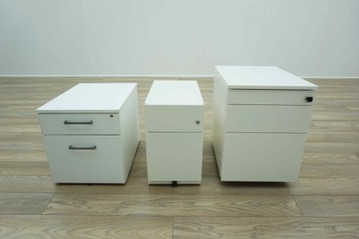 All Sizes & Styles - White Mobile Under Desk Office Pedestals