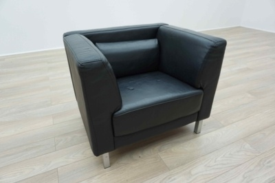 Black Leather Office Reception Tub / Arm Chairs