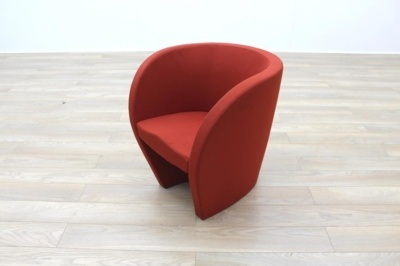 Red Fabric Office Reception Tub Chairs