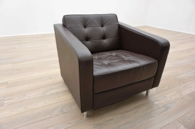 Davison Highley Fifth Avenue Brown Leather Office Reception Arm Chair Sofa