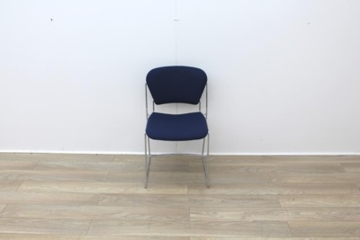 Blue stacking meeting chairs with chrome finish