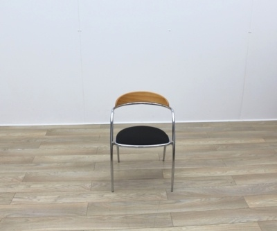 Black Fabric Meeting Chairs With Chrome Legs And Wood Back