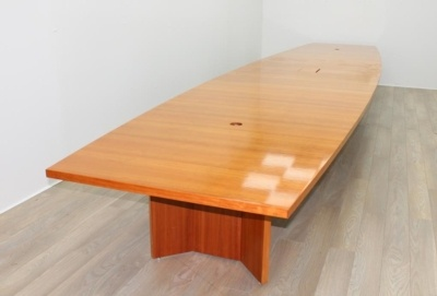 Cherry Veneer Barrel Shape Meeting Table