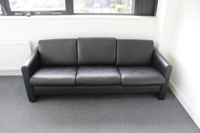 Black 3 Seater Faux Leather Sofa